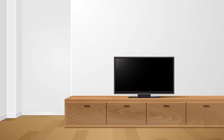 lcd tv on white showcase and cabinet in the livingroom Vettoriali