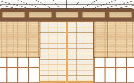 wooden curtain on windows in dojo room in japan
