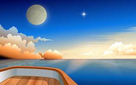 view of moon and sunrise in the morning in the ocean on wooden boat Illustration
