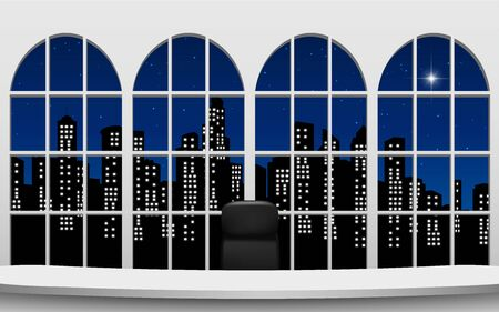 news studio with city in the night background 向量圖像
