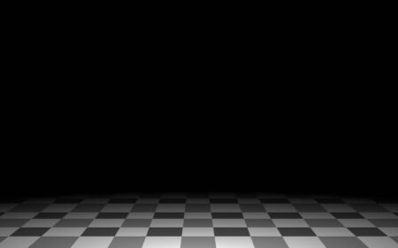 black and white tile floor and spotlight in the dark room