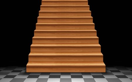 wooden staircase on the tile floor in the dark room 向量圖像