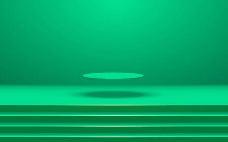 green podium and spotlight in the green studio room 矢量图像