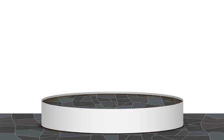 maeble podium on the marble floor in the white studio room