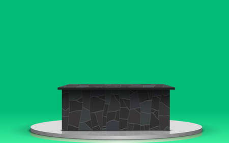 marble table with green background in the news studio room Illusztráció