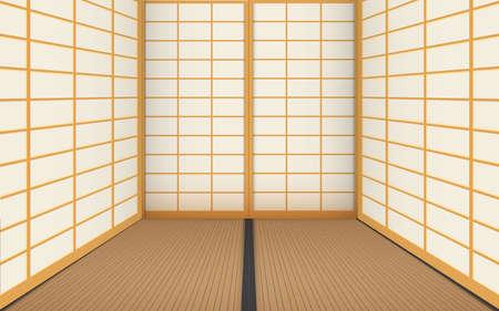 interior of dojo room in japan