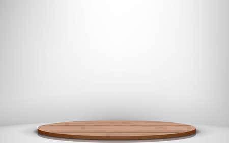 wooden podium in the white studio room 向量圖像
