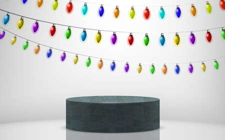 marble podium with colorful hanging light tulbs on the white background