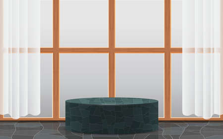marble podium with wooden windows in the white room  イラスト・ベクター素材