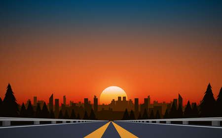 landscape of road to city in the mountain in sunset  イラスト・ベクター素材