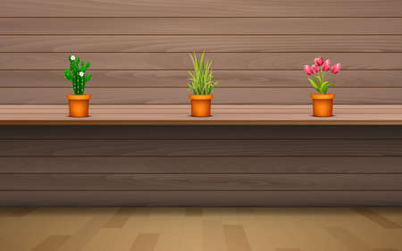 plant in the vase on the wooden shelf on the wooden wall