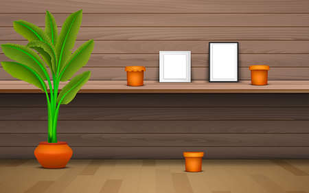 picture frame and vase on the wooden shelf on the wooden wall 写真素材