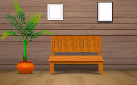 wooden chair and plant with picture frame in the wood house  イラスト・ベクター素材