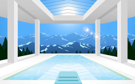 view of swimming pool at resort on mountain in the day time Vecteurs