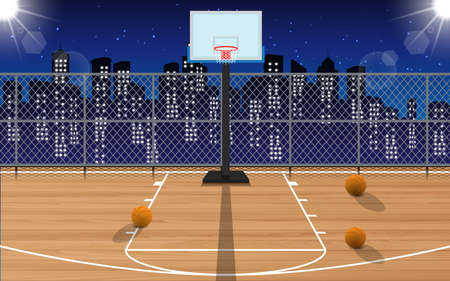 outdoor wooden basketball court on the high building in city in the night  イラスト・ベクター素材