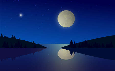 landscape of river in the full moon night  イラスト・ベクター素材