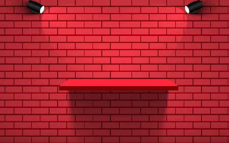red shelf and spotlight on the red brick wall