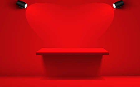 red shelf and spotlight in the red studio room
