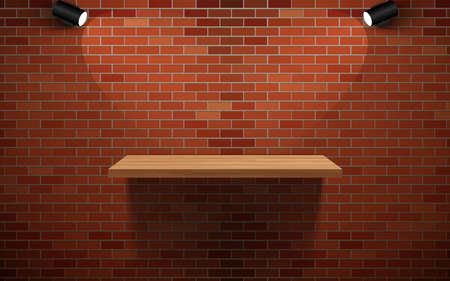wooden shelf and spotlight on the red brick wall
