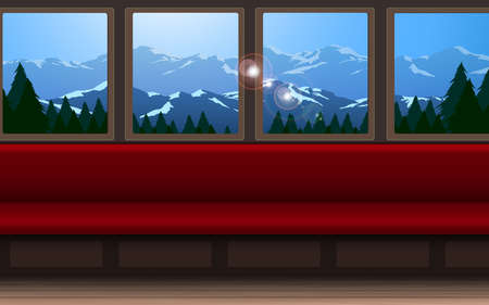 Interior decoration of train on the forest and mountain background