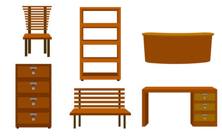 flat wooden furniture collection set on the white background