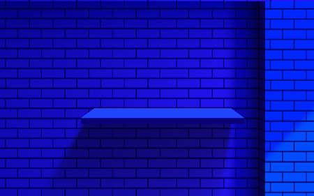 blue shelf and spotlight on the blue brick wall Ilustração