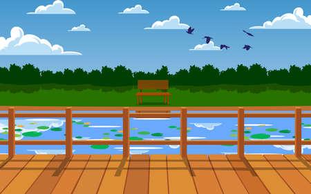 landscape of wooden bridge on the river Ilustração