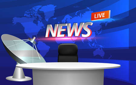 white table and lcds background in the news studio room Çizim