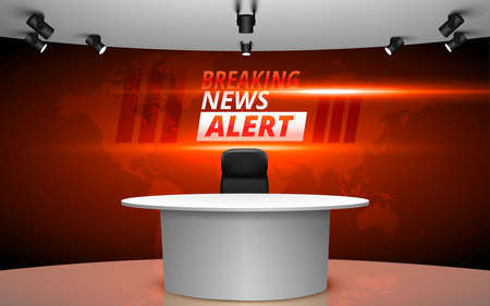 table and breaking news alert on lcds background in the sport studio news