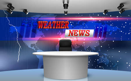 table and weather news on lcds background in the studio news