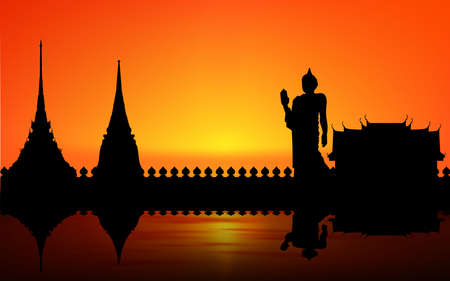 landscape of temple at the river in thailand in sunset