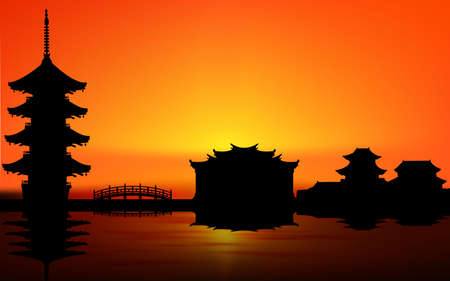 landscape of house at the river in china in sunset