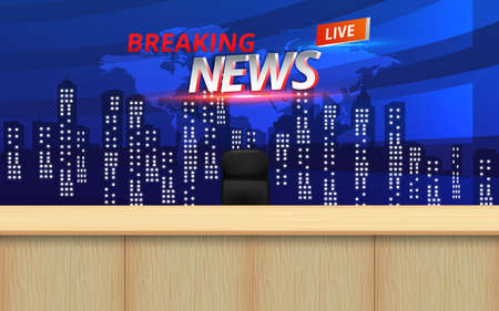 wooden table and lcds background in the news studio room