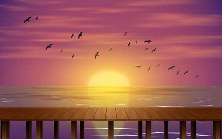 landscape of wooden bridge on the beach in sunset Illusztráció
