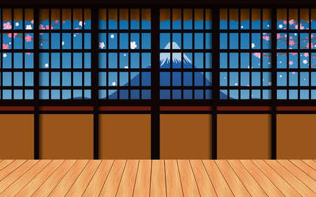 indoor wooden house with fuji mountain background in japan Vektorové ilustrace