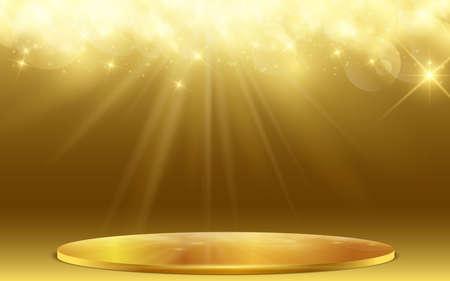 golden podium with golden light abstract background 免版税图像