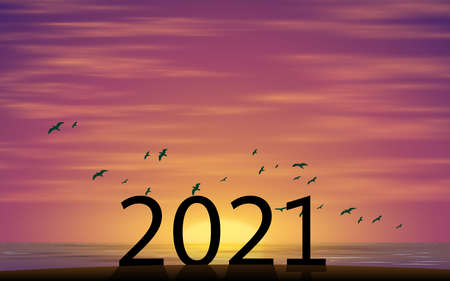 2021 number on the beach in morning