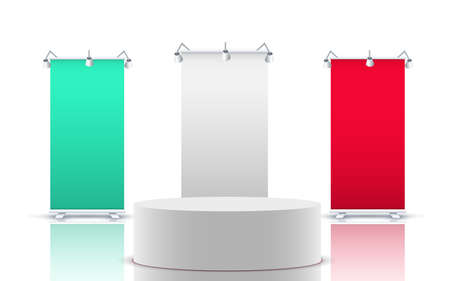 white podium with colorful standee in the white room