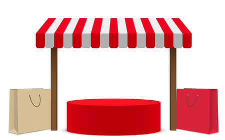 red podium with red shop background in the white studio room 矢量图像