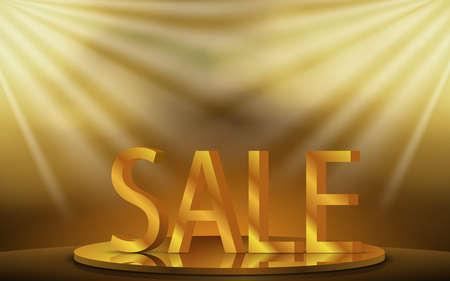 golden sale on gold podium with spotlight in the studio