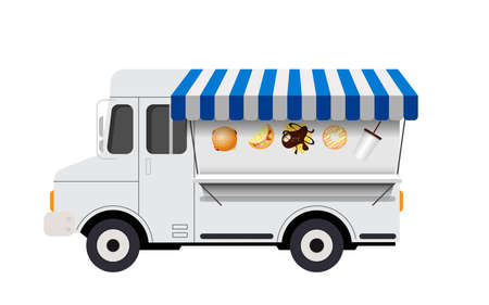 white food truck on the white background 矢量图像