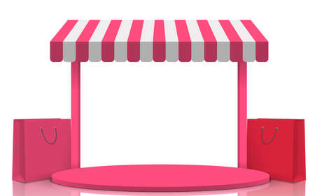 pink podium with pink shop background in the white studio room