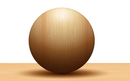 3d wooden ball on the wooden table