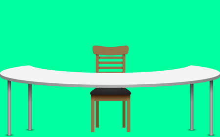 white table and wooden chair on the green background