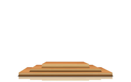 3d wooden podium in the white studio room