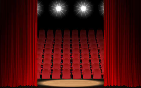 spotlight and red curtain on the wooden stage in the hall