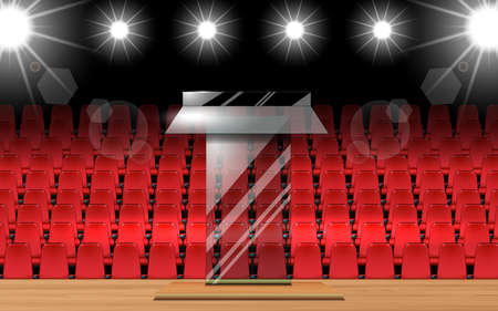 glass announcement podium and red curtain on the wooden stage 免版税图像