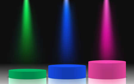 colorful podium and colorful spotlight in the dark room