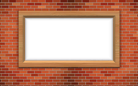 wooden frame on the red brick wall 矢量图像