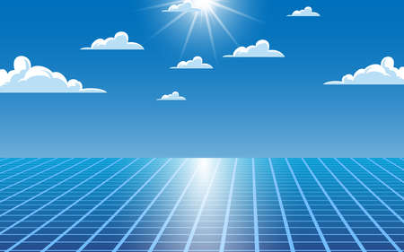 solar calls with sunlight and cloud on the blue sky